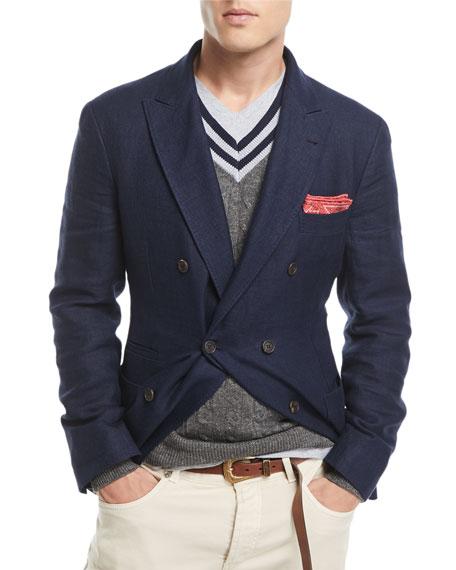 Brunello Cucinelli Traditional Hopsack Sport Jacket