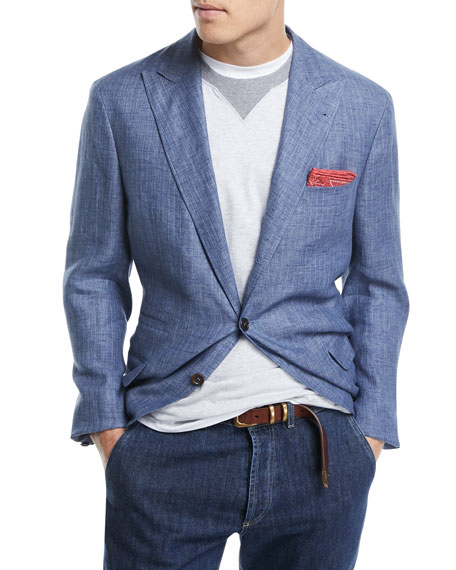 Three-Button Pinstriped Sport Jacket
