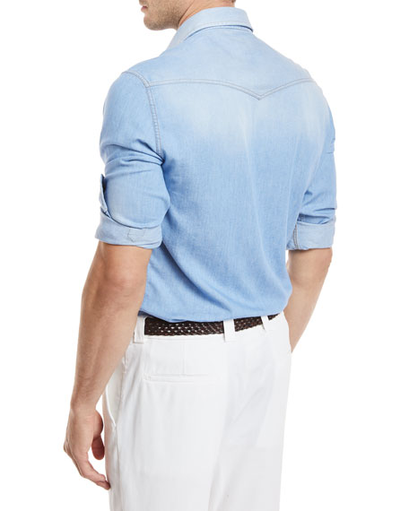 Lightweight Aged Denim Western Shirt