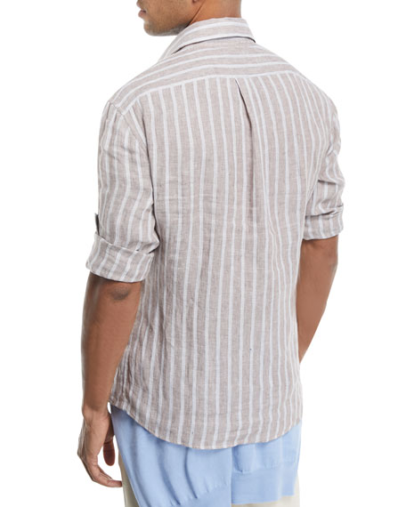 Multi-Stripe Linen Sport Shirt