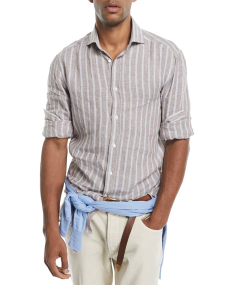 Multi-Stripe Linen Sport Shirt
