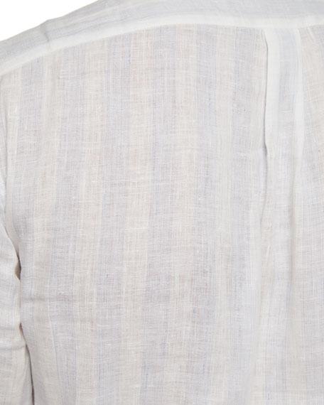 Linen Tonal-Striped Sport Shirt