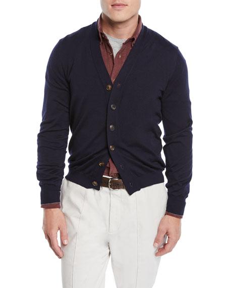 Brunello Cucinelli Cashmere-Blend Button-Front Cardigan