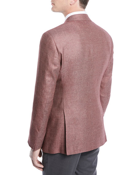 Two-Button Silk-Linen Hopsack Jacket