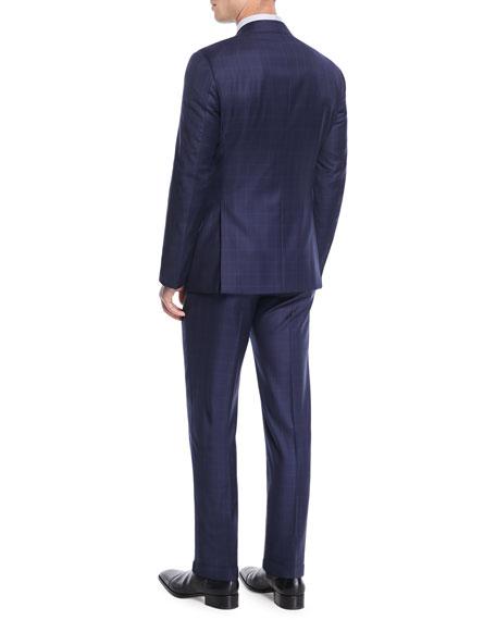 Men's Windowpane Two-Piece Wool Suit