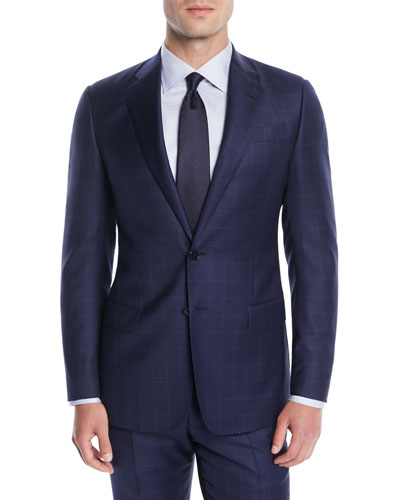 f2a035a1404e Giorgio Armani Men s Windowpane Two-Piece Wool Suit