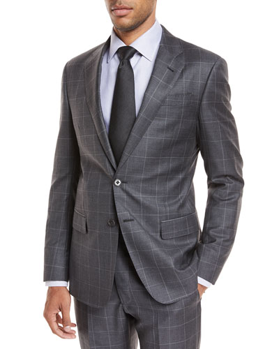 Windowpane Wool Two-Piece Suit