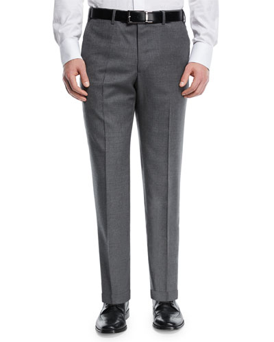 Melange Wool Flat-Front Trousers