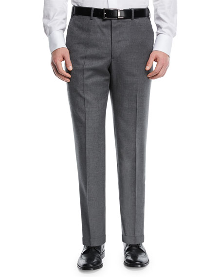 Giorgio Armani Melange Wool Flat-Front Trousers