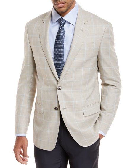 Windowpane Plaid Wool Sport Coat