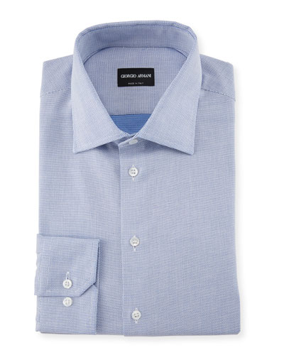 Micro-Structure Dress Shirt, Blue