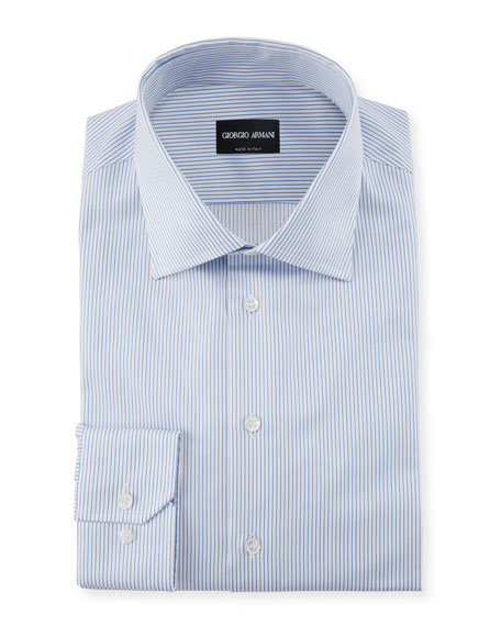 Giorgio Armani Striped Barrel-Cuff Dress Shirt