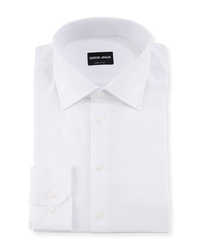 White-on-White Diamond Barrel-Cuff Dress Shirt