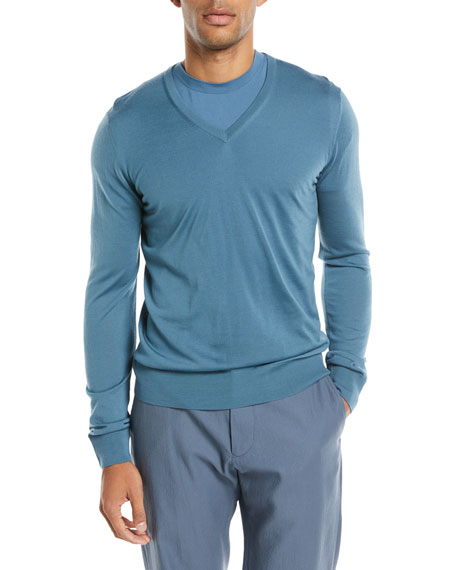 Giorgio Armani Lightweight V-Neck Wool Pullover Sweater, Light