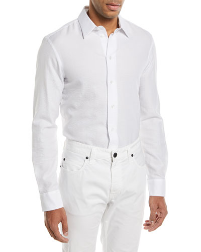 Seersucker Herringbone Cotton Sport Shirt