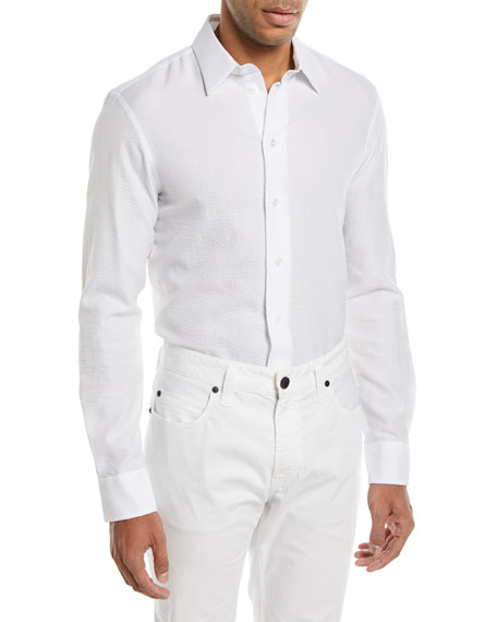 Giorgio Armani Seersucker Herringbone Cotton Sport Shirt