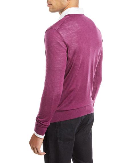 Lightweight V-Neck Wool Pullover Sweater, Fuchsia