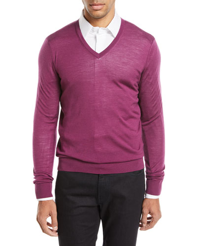 Lightweight V-Neck Wool Pullover Sweater, Fuchsia