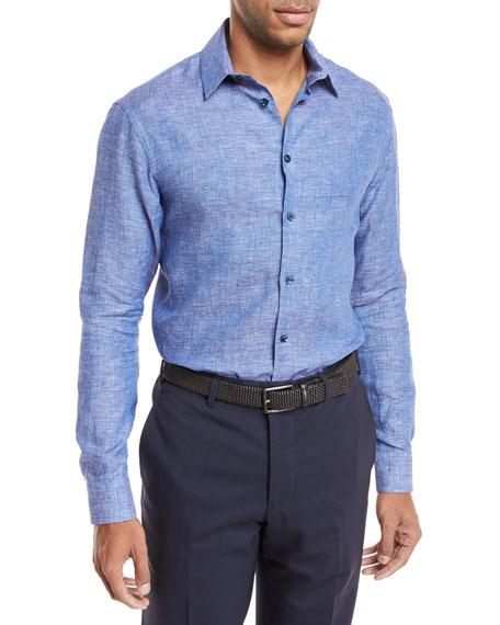 Giorgio Armani Linen Melang?? Sport Shirt, Blue/Gray