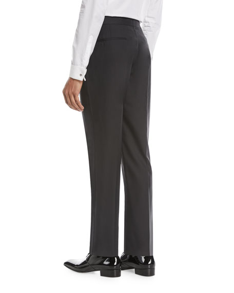 Wool-Blend Straight-Leg Evening Pants