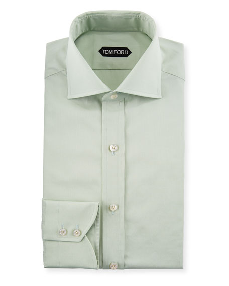 Slim-Fit Solid-Color Poplin Barrel-Cuff Dress Shirt
