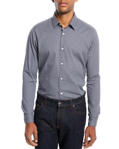 Men's Chain Link-Print Sport Shirt, Navy/White