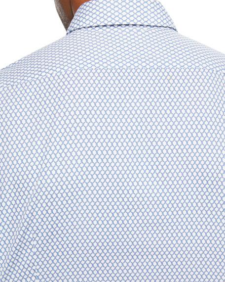 Men's Chain Link-Print Sport Shirt, White/Teal