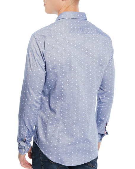Men's Dot-Print Denim Sport Shirt