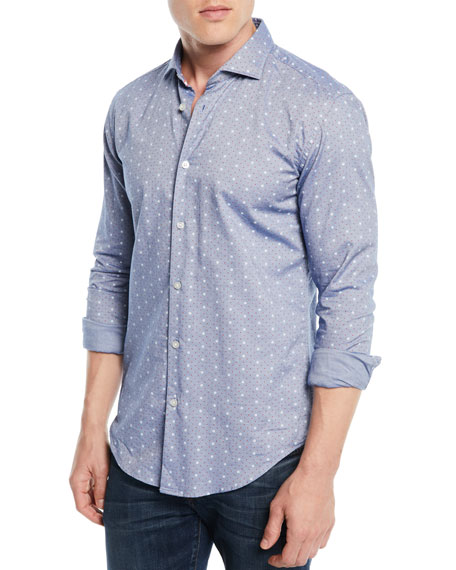 BOSS Men's Dot-Print Denim Sport Shirt