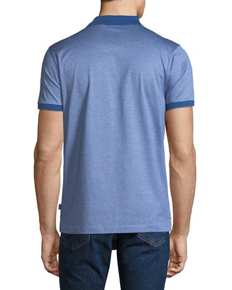 Men's Finely Striped Polo Shirt, Indigo