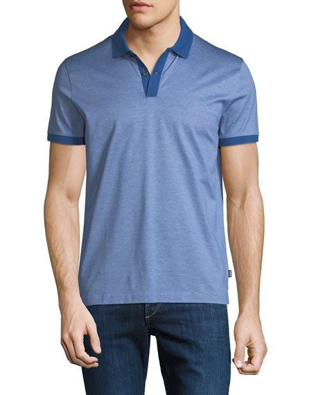 Men's Finely Striped Polo Shirt, Indigo