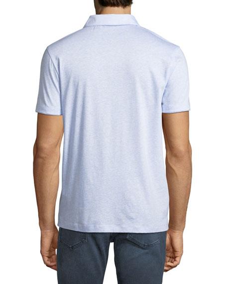 Men's Fine Stripe Cotton/Linen Polo Shirt