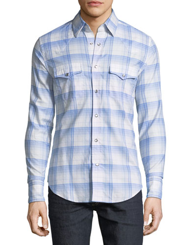 Western Plaid Cotton Sport Shirt