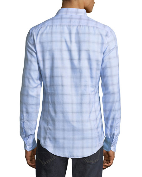Plaid Cotton Sport Shirt, Light Blue