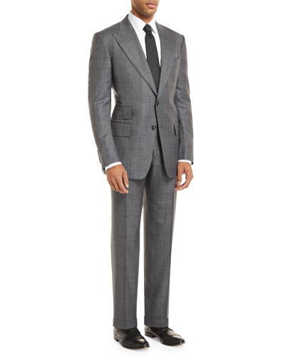 Windowpane Wool-Blend Two-Piece Suit