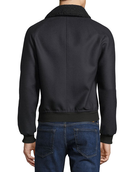 Cashmere Blouson w/ Removable Collar