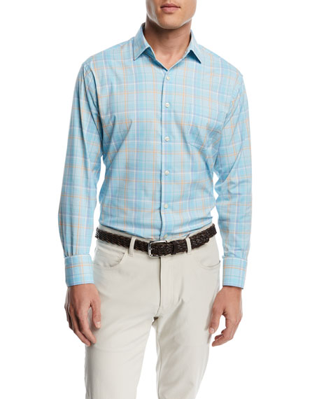 Peter Millar Wallace Performance Plaid Shirt, Light Blue