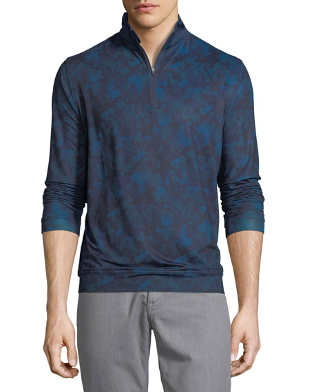 Peter Millar Perth Stretch Camouflage Quarter-Zip Sweatshirt,