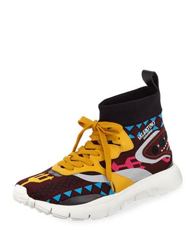 Men's Multicolor Sock Trainer Sneakers