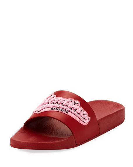 Embroidered Logo Vinyl Pool Slide Sandal by Valentino Garavani