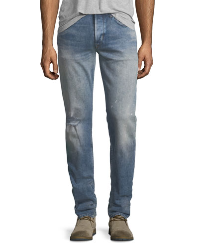 Blake Slim-Straight Distressed Jeans, Blue