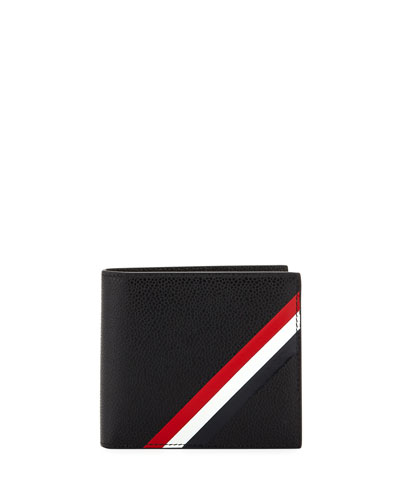 Diagonal Stripe Leather Bi-Fold Wallet