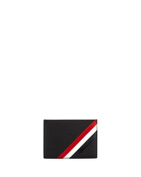 Thom Browne Diagonal Stripe Leather Card Holder