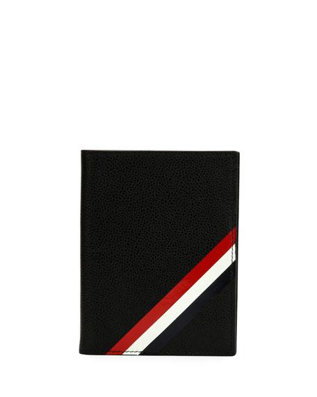 Thom Browne Passport Holder with Diagonal Stripe Trim