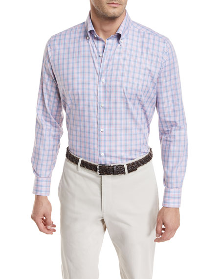 Peter Millar Flamencos Check Cotton Sport Shirt