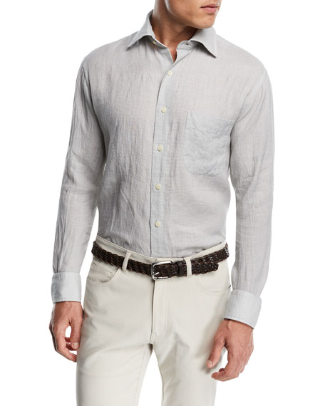 Retro Leaf Linen Sport Shirt