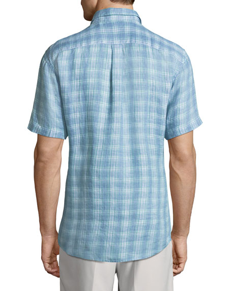 Woven Plaid Linen Shirt, Ocean
