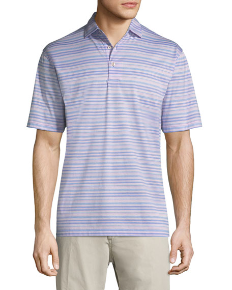 Peter Millar Hanover Stripe Cotton Polo Shirt, Purple