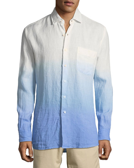 Peter Millar Seaside Dip Dye Shoreline Shirt, Medium