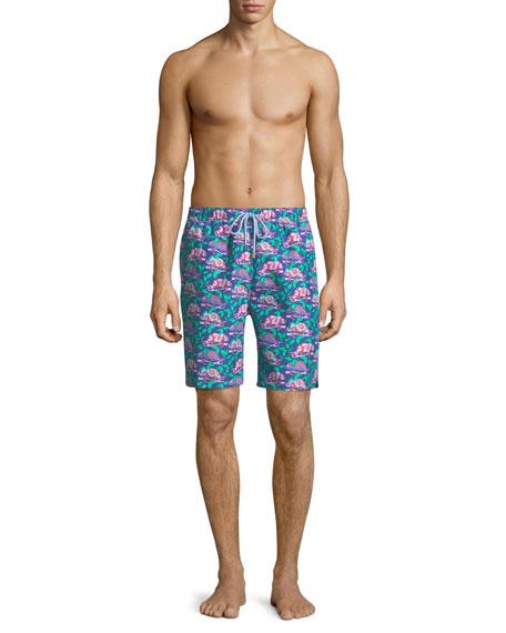 Chameleon-Print Swim Shorts